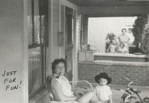 Copy of Aug 1957 Evelyn pipe Ella porch